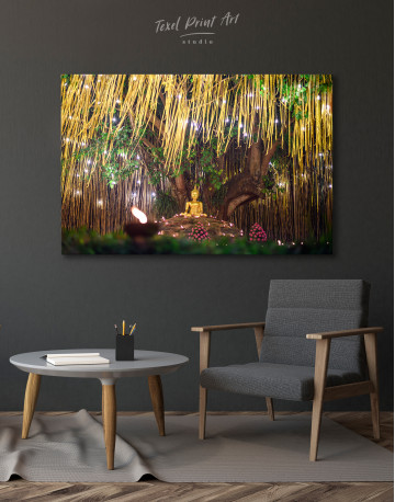 Buddha Statue with Candle Light Canvas Wall Art - image 6