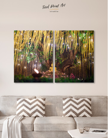 Buddha Statue with Candle Light Canvas Wall Art - image 9