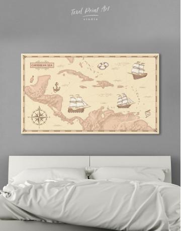 Abstract Map of Caribbean Sea Canvas Wall Art