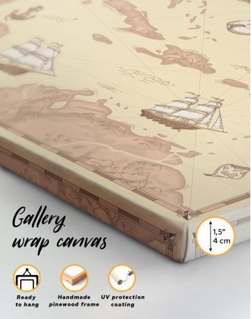 Abstract Map of Caribbean Sea Canvas Wall Art - image 2