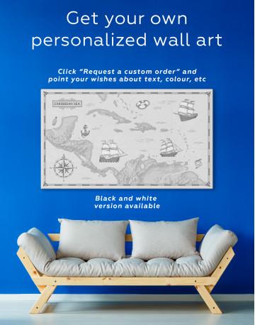 Abstract Map of Caribbean Sea Canvas Wall Art - image 3