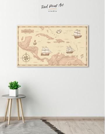 Abstract Map of Caribbean Sea Canvas Wall Art - image 4