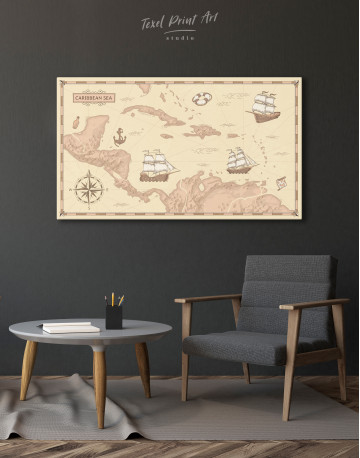 Abstract Map of Caribbean Sea Canvas Wall Art - image 6