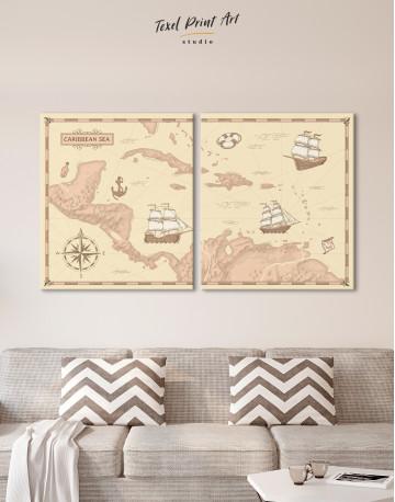 Abstract Map of Caribbean Sea Canvas Wall Art - image 1