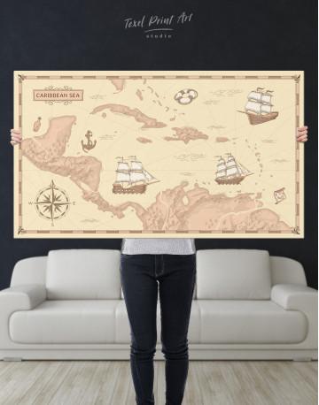 Abstract Map of Caribbean Sea Canvas Wall Art - image 10