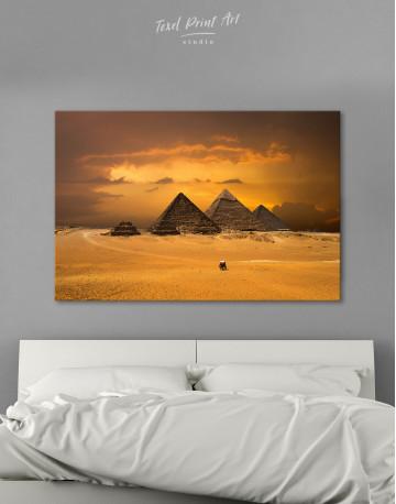 Pyramids With A Beautiful Sky Of Giza Canvas Wall Art