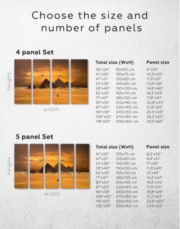 Pyramids With A Beautiful Sky Of Giza Canvas Wall Art - image 8