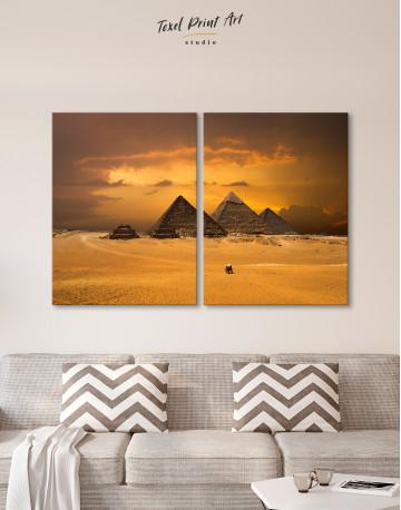 Pyramids With A Beautiful Sky Of Giza Canvas Wall Art - image 9