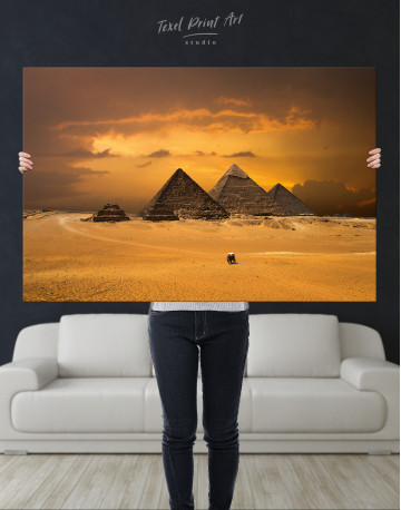 Pyramids With A Beautiful Sky Of Giza Canvas Wall Art - image 1