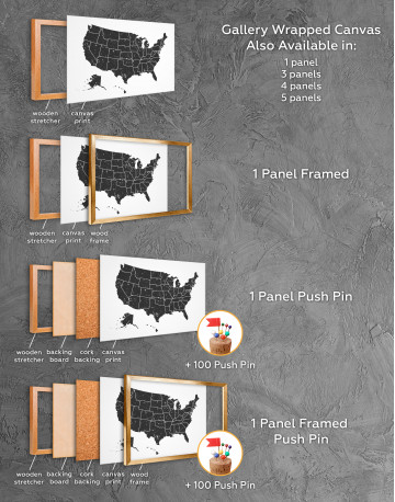 Black and White USA Map Canvas Wall Art - image 1