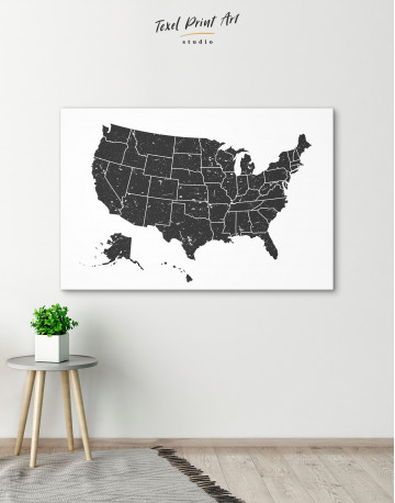 Black and White USA Map Canvas Wall Art - image 13