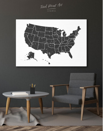 Black and White USA Map Canvas Wall Art - image 6