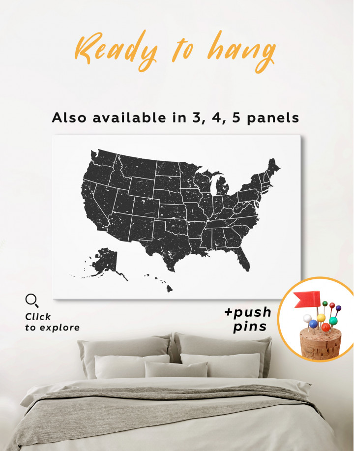 Black and White USA Map Canvas Wall Art