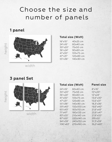 Black and White USA Map Canvas Wall Art - image 4