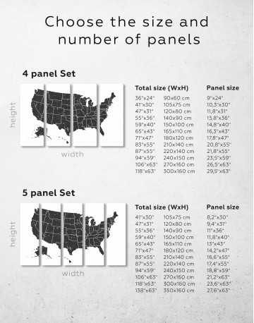 Black and White USA Map Canvas Wall Art - image 2