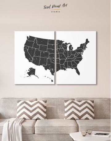 Black and White USA Map Canvas Wall Art - image 3