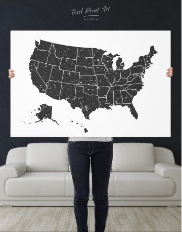 Black and White USA Map Canvas Wall Art - image 8