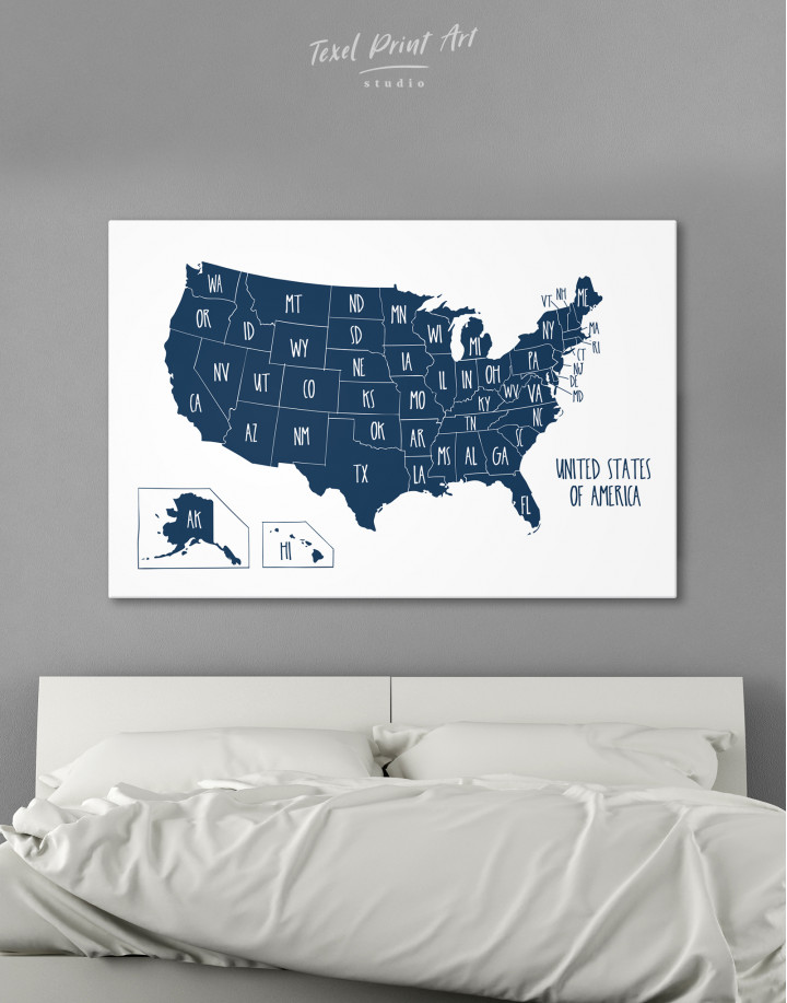 Blue USA Map with States Canvas Wall Art