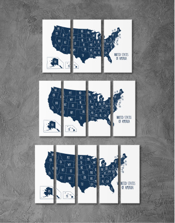 Blue USA Map with States Canvas Wall Art - image 8