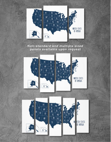 Blue USA Map with States Canvas Wall Art - image 9
