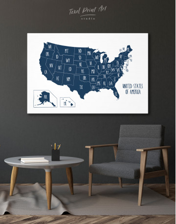Blue USA Map with States Canvas Wall Art - image 10