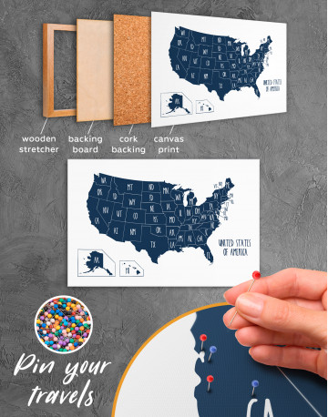 Blue USA Map with States Canvas Wall Art - image 11