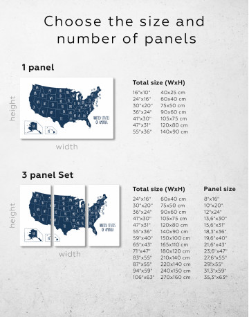 Blue USA Map with States Canvas Wall Art - image 2