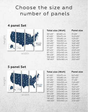 Blue USA Map with States Canvas Wall Art - image 3