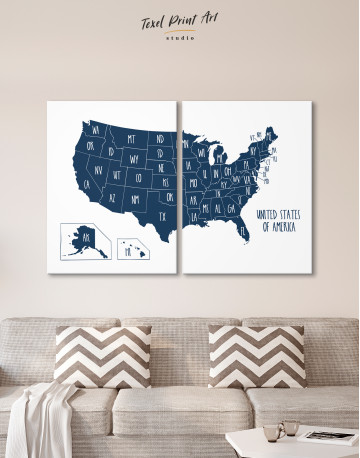 Blue USA Map with States Canvas Wall Art - image 1