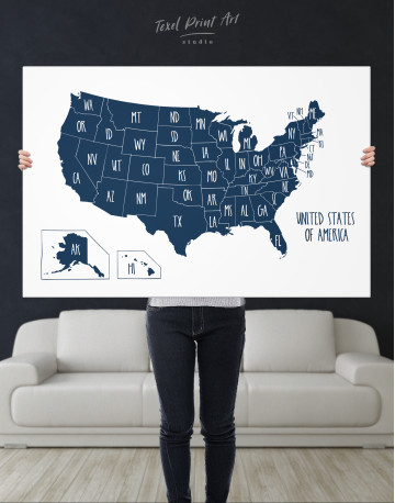Blue USA Map with States Canvas Wall Art - image 14