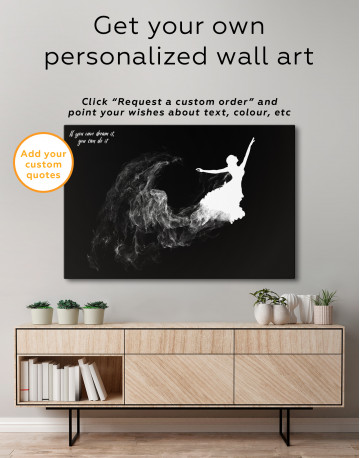Ballerina Silhouette Black and White Canvas Wall Art - image 3