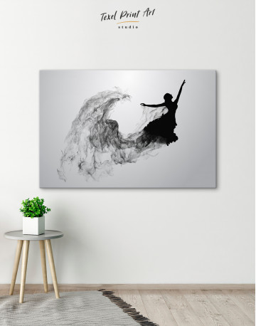 Ballerina Silhouette Black and White Canvas Wall Art - image 4