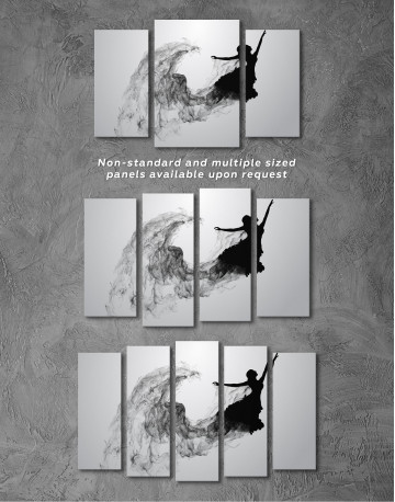 Ballerina Silhouette Black and White Canvas Wall Art - image 5