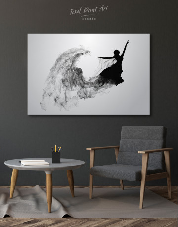 Ballerina Silhouette Black and White Canvas Wall Art - image 6