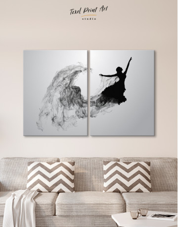 Ballerina Silhouette Black and White Canvas Wall Art - image 9