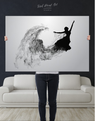 Ballerina Silhouette Black and White Canvas Wall Art - image 1