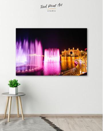 Pink Fountain of Dubai Canvas Wall Art - image 6