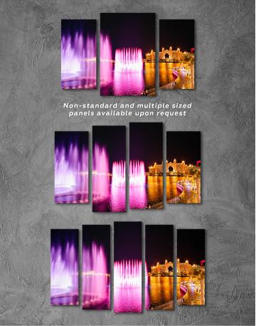 Pink Fountain of Dubai Canvas Wall Art - image 5