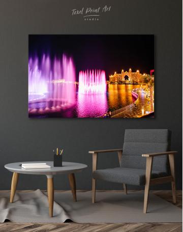 Pink Fountain of Dubai Canvas Wall Art - image 4