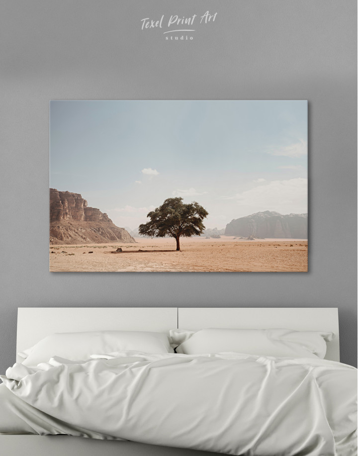 Lonely Tree in Desert Canvas Wall Art
