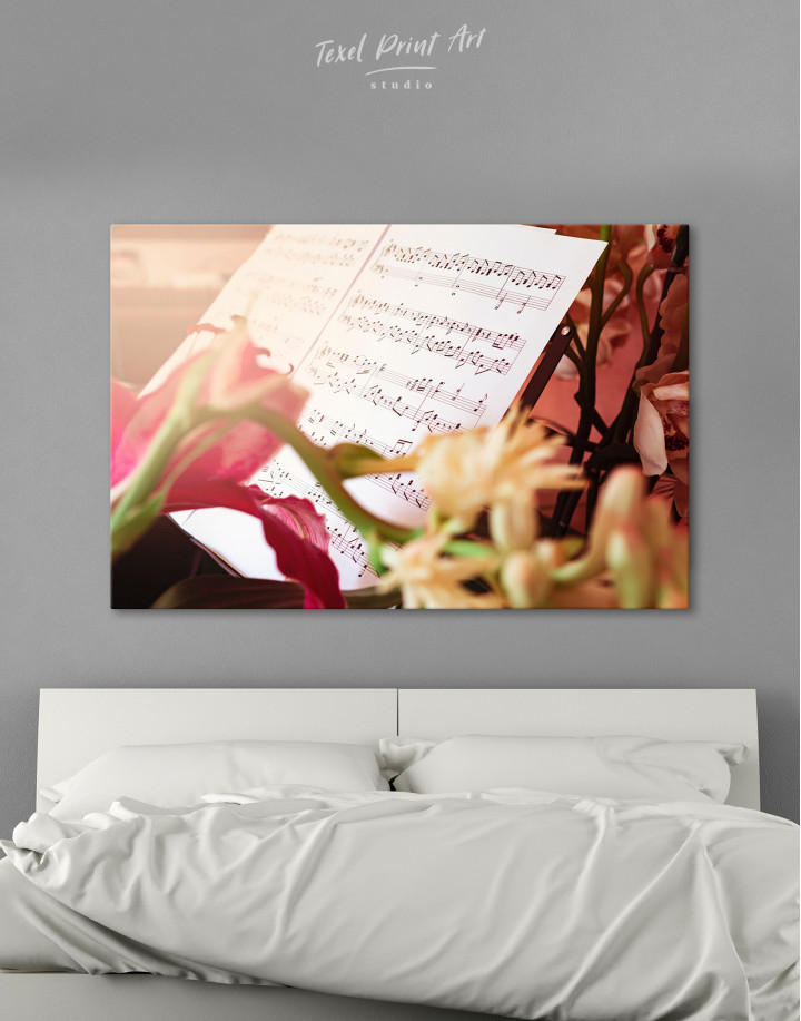Flowers and Music Notes Canvas Wall Art