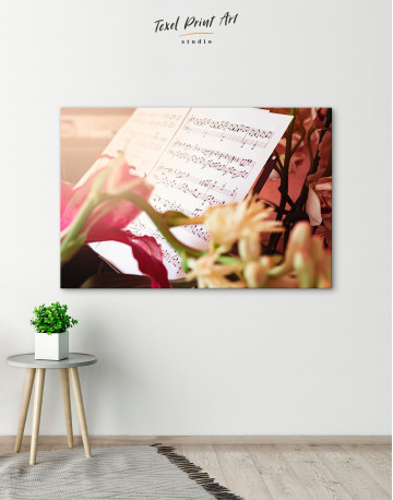 Flowers and Music Notes Canvas Wall Art - image 4
