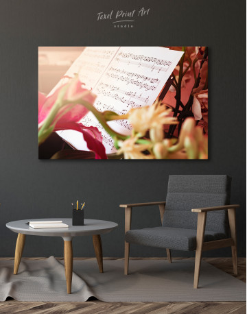 Flowers and Music Notes Canvas Wall Art - image 6