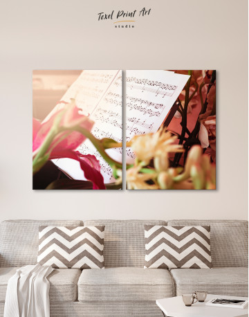 Flowers and Music Notes Canvas Wall Art - image 9