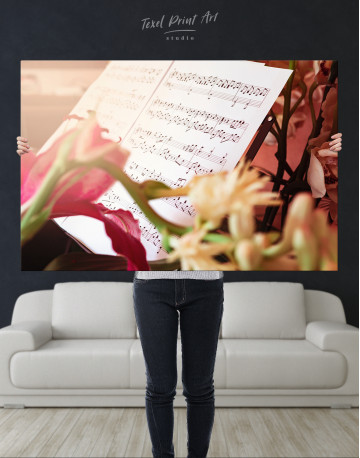 Flowers and Music Notes Canvas Wall Art - image 1