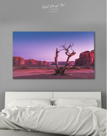 Monument Valley Tree Sunset Canvas Wall Art