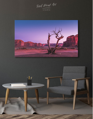Monument Valley Tree Sunset Canvas Wall Art - image 4