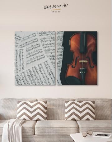 Violin and Music Notes Canvas Wall Art - image 1