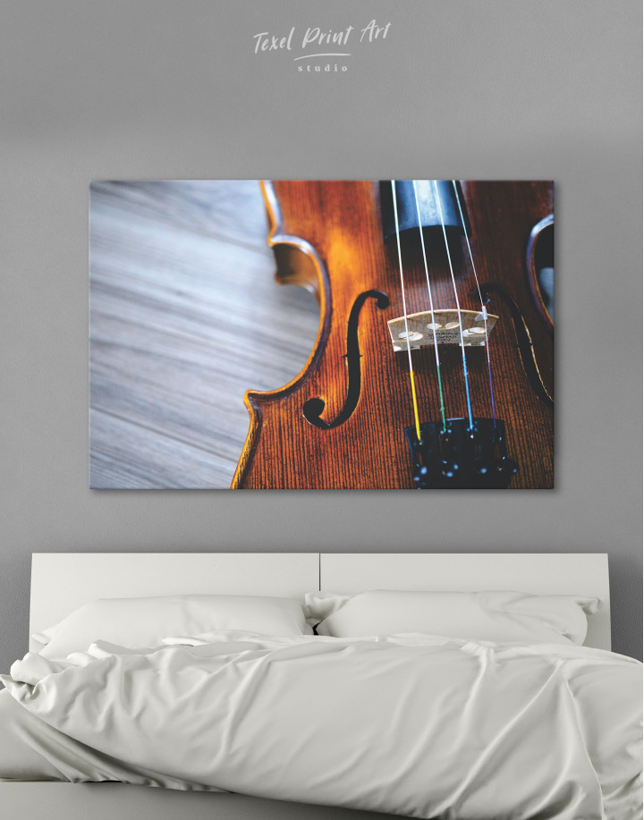 Violin Close Up Photo Canvas Wall Art