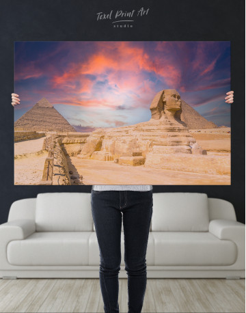 Great Sphinx of Giza at Sunset Canvas Wall Art - image 1